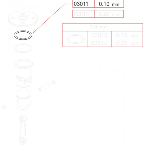 Novarossi - Juntas de Cabeçote, Motor 3,5cc; 0,10mm em Cobre - NV-03011