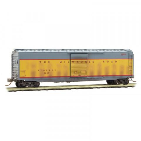 Micro-Trains N - Vagão Fechado de 50' (Box Car) Milwaukee Road, Envelhecido: 031 44 510
