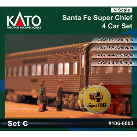 "Kato N - Santa Fe ""Super Chief"" 4 Car Set - Set C: 106-6003"