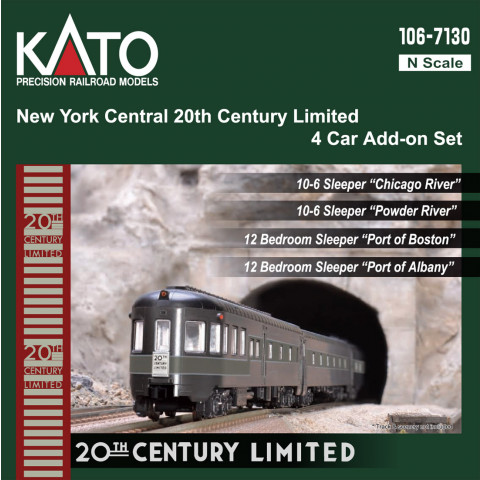 "Kato N - NYC ""20th Century Limited"" 4 Car Add-On Set: 106-7130"