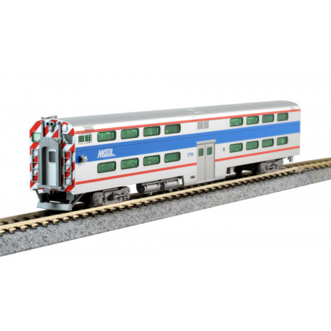Kato N - Gallery Bi-Level Cab-Coach Chicago Metra #8750: 156-0972