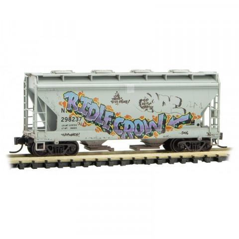 Micro-Trains N - Vagão Hopper, Envelhecido e Grafitado: 092 44 470