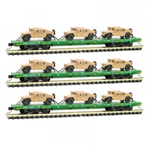 Micro-Trains N - Vagões DODX Flat Green, com Humvees - Set com 3
