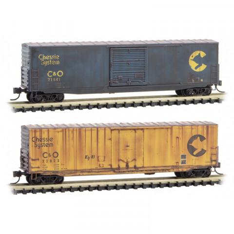 Micro-Trains N - Vagões Fechados, Envelhecidos - Set com 2: 993 05 740