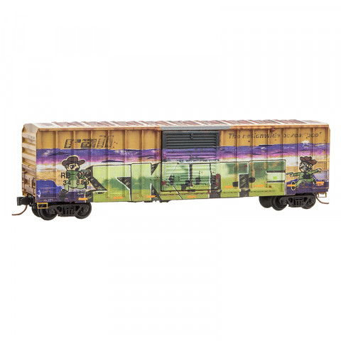 """Micro-Trains N - Vagão Fechado, Railbox, Envelhecido e Grafitado """"Cowboy"""""""