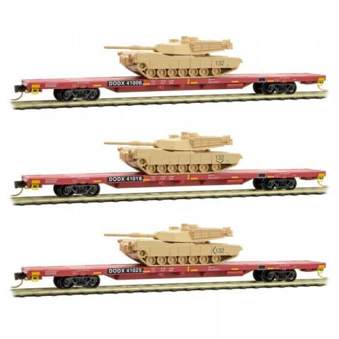 Micro-Trains N - Vagões DODX Flat, com Blindados. Set com 3