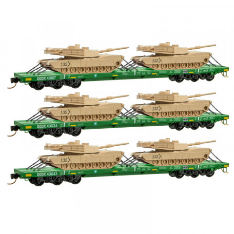 Micro-Trains N - Vagões DODX Flat Green, com Blindados - Set com 3