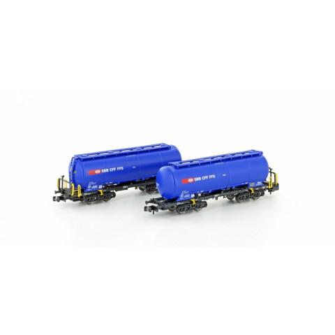 Hobbytrain / Lemke - Vagões Silo, Uacs SBB blue (N): H23486