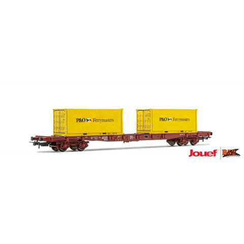 Jouef HO - Vagão de 4 eixos S68, Para Contêiner, SNCF: HJ6194