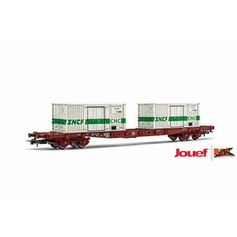 Jouef HO - Vagão de 4 eixos S68, Para Contêiner, SNCF: HJ6195