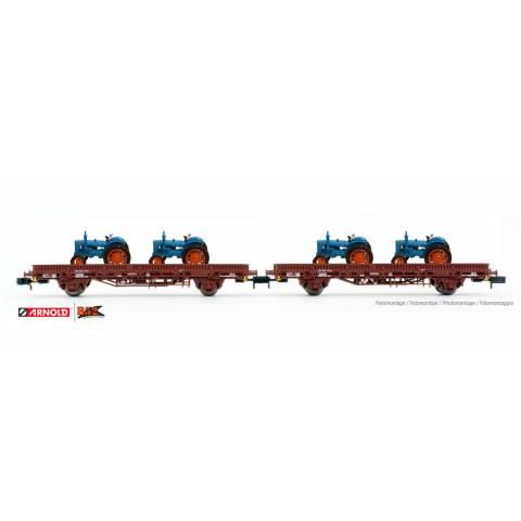 Arnold N - Vagões Plataforma com Carga de Tratores, FS: HN6489