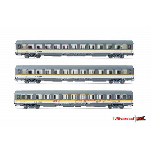 Rivarossi HO - Carros de Passageiros, set com 3, ALEX: HR4293