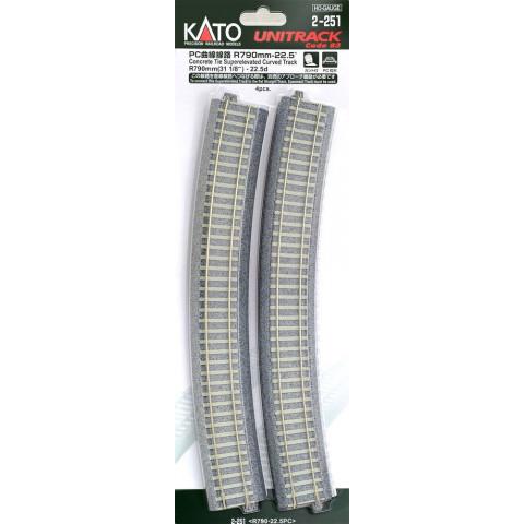 "Kato HO - Trilho Curva Inclinada  ""C. Tie"" - R790: 2-251"