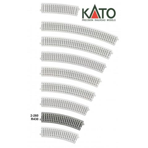 Kato HO - Trilho Curva - R430, 22,5°: 2-260
