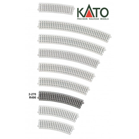 Kato HO - Trilho Curva - R490, 22,5°: 2-270