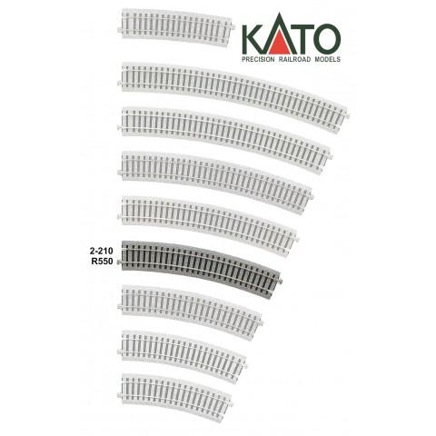 Kato HO - Trilho Curva - R550, 22,5°: 2-210