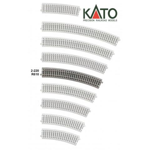 Kato HO - Trilho Curva - R610, 22,5°: 2-220