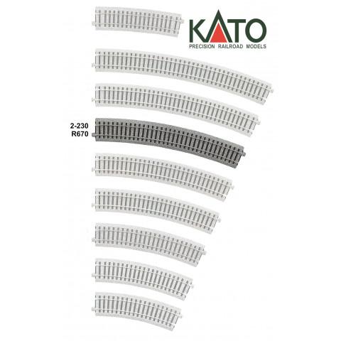 Kato HO - Trilho Curva - R670, 22,5°: 2-230