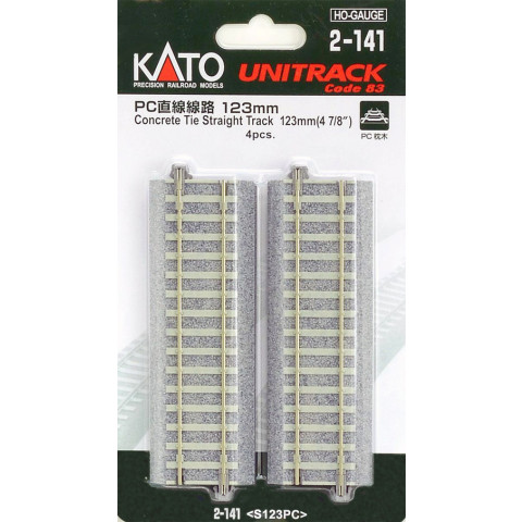 """Kato HO - Trilho Reto """"Concrete Tie"""" - 123 mm: 2-141"""