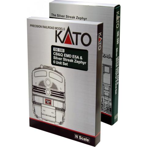 Kato N - CB Q EMD E5A Silver Streak Zephyr, 6 Unit Set: 106-090