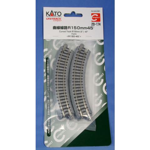 "Kato N - Trilho Curva ""Compact"" - R150, 45,0° - 20-174"
