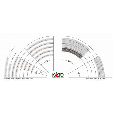 Kato N - Trilho Curva p/ Viaduto - R249, 45,0° - 20-505