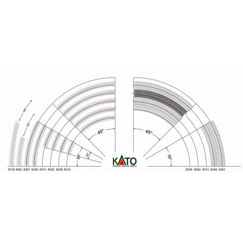 Kato N - Trilho Curva p/ Viaduto - R315, 45,0° - 20-520