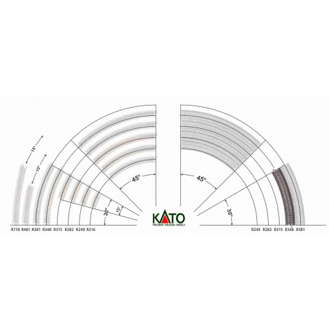 Kato N - Trilho Curva p/ Viaduto - R348, 30,0° - 20-531