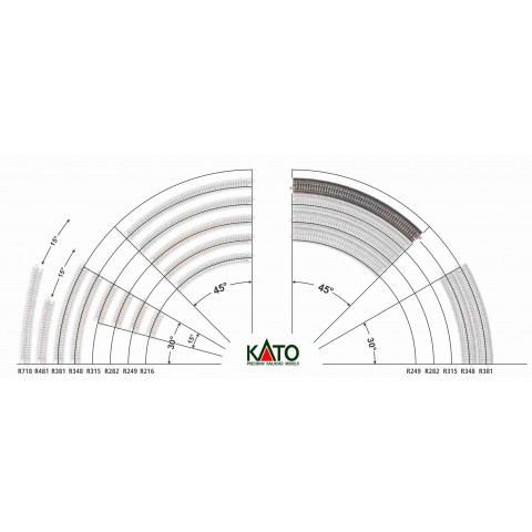 Kato N - Trilho Curva p/ Viaduto - R348, 45,0° - 20-530