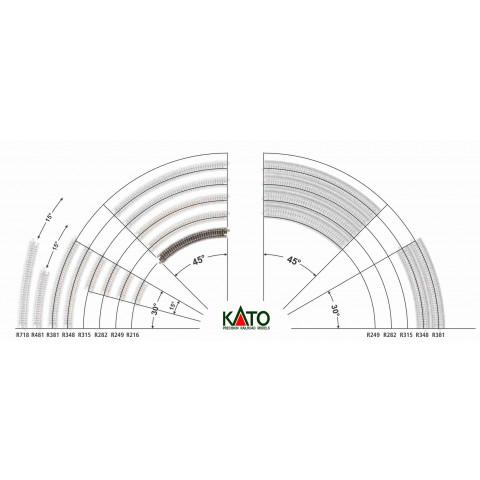 Kato N - Trilho Curva - R216, 45,0° - 20-170