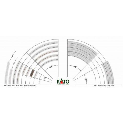 Kato N - Trilho Curva - R249, 15,0° - 20-101