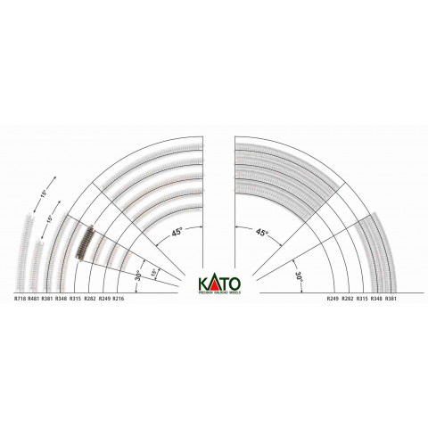 Kato N - Trilho Curva - R315, 15,0° - 20-121