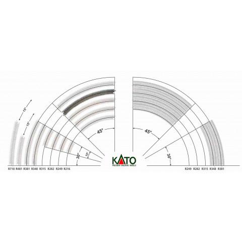 Kato N - Trilho Curva - R315, 45,0° - 20-120