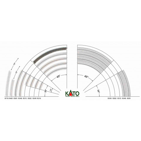 Kato N - Trilho Curva - R348, 45,0° - 20-132
