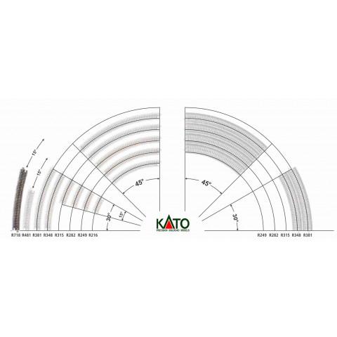 Kato N - Trilho Curva - R718, 15,0° - 20-150