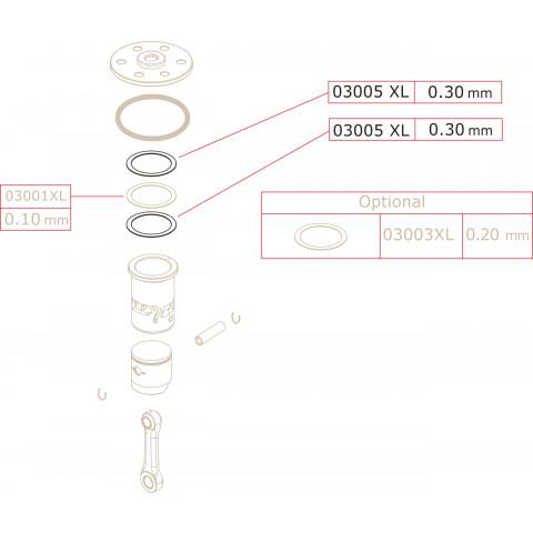 Novarossi - Juntas de Cabeçote, 3,5cc: NV-03005XL