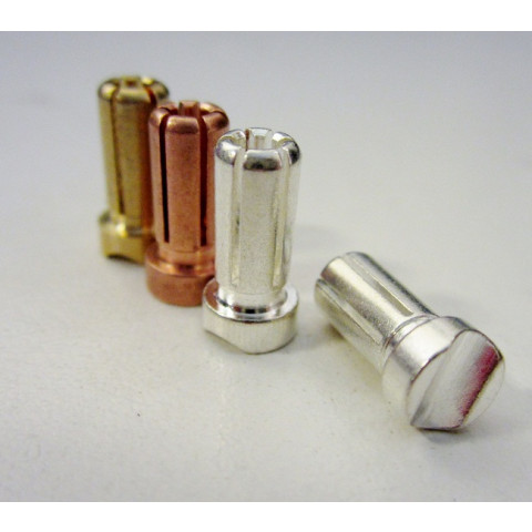 """TQ - Plug """"Bullet"""" Silver 5mm (Cobre/Prata) - TQ2510"""